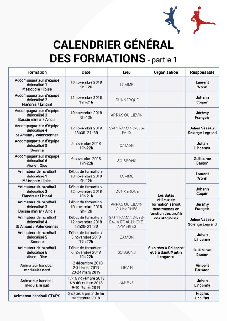 Calendrier général des formations - partie 1